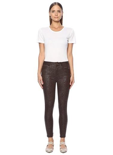NetWork Kadın 1071037 Baskılı Skinny Casual Pantolon Kahve
